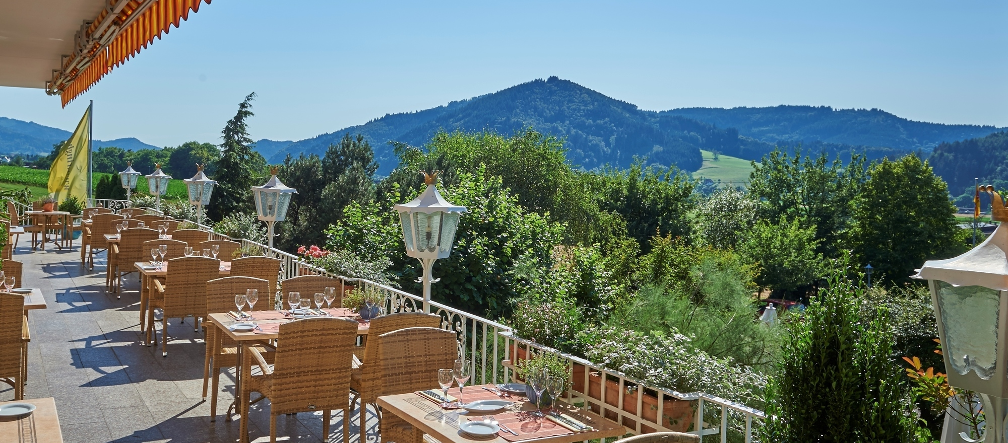 Terrace of the Ringhotel Schwarzwald Hotel Silberkönig in Gutach-Bleibach, 4-stars hotel in the Black Forest