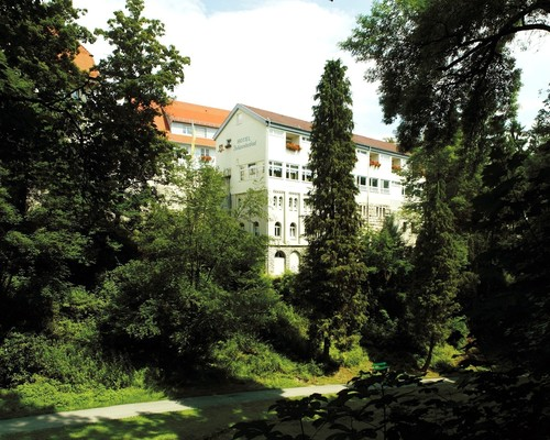 The view of the Ringhotel Johanniterbad in Rottweil from the city moat