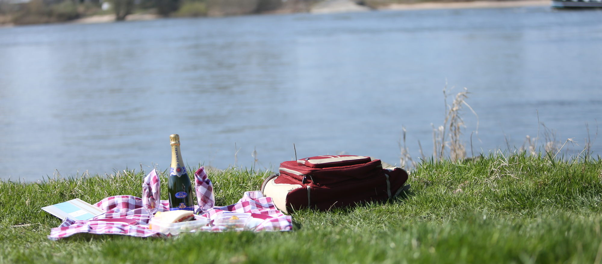 Picnic directly on the Rhine river at the 4-star hotel Ringhotel Rheinhotel Vier Jahreszeiten in Meerbusch