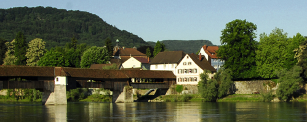 Europe's longest roofed wooden bridge, Ringhotel Goldener Knopf in Bad Saeckingen, 4 star Hotel in the Black Forest