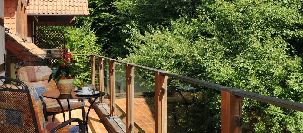 View on the balcony of the country style room at the 4-star hotel Ringhotel Der Waldkater in Rinteln