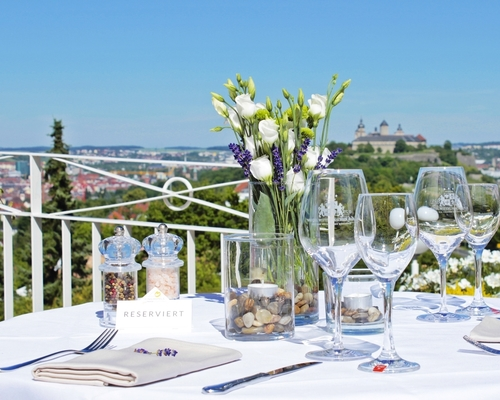 Panorama terrace with big sunshades at the 3-star-superior hotel Ringhotel Wittelsbacher Hoeh in Wuerzburg