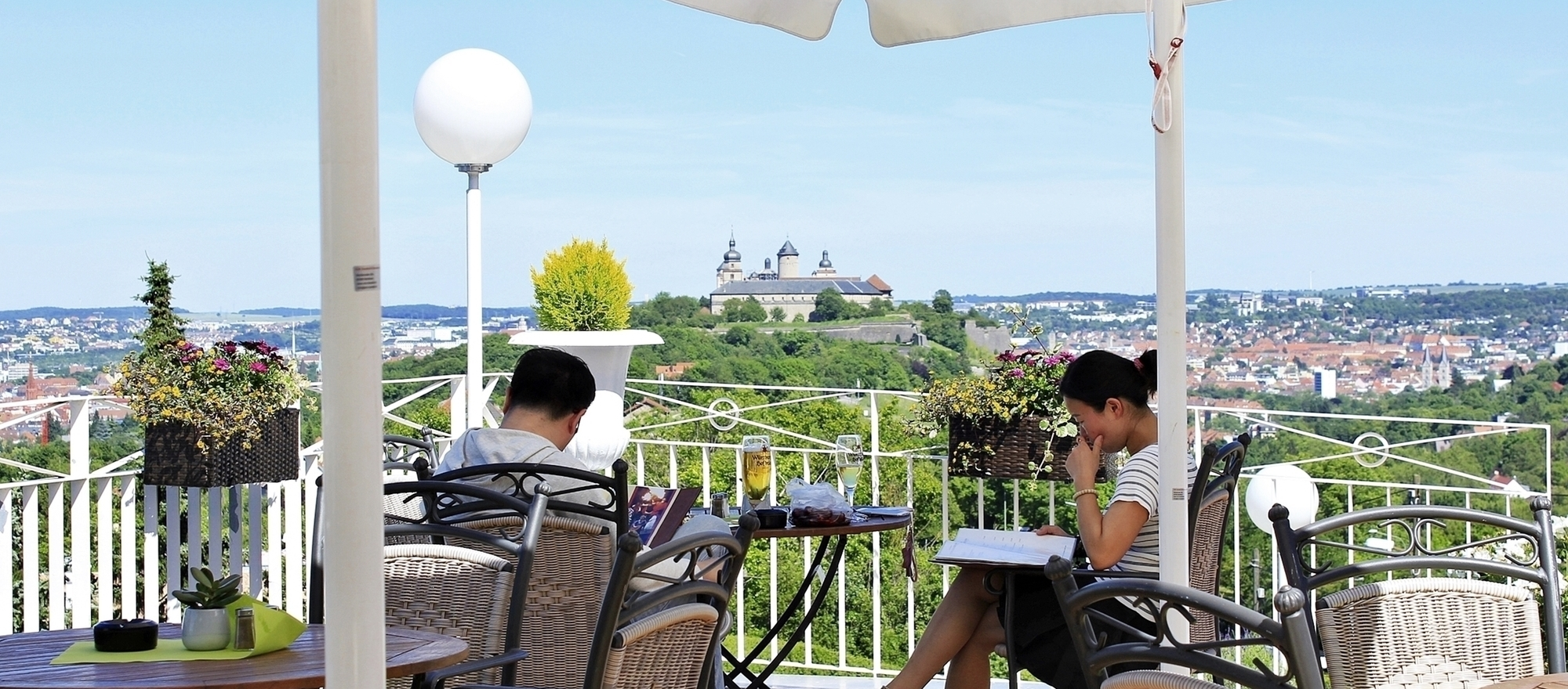 Idyllic situated terrace with different levels at the 3-star-superior hotel Ringhotel Wittelsbacher Hoeh in Wuerzburg