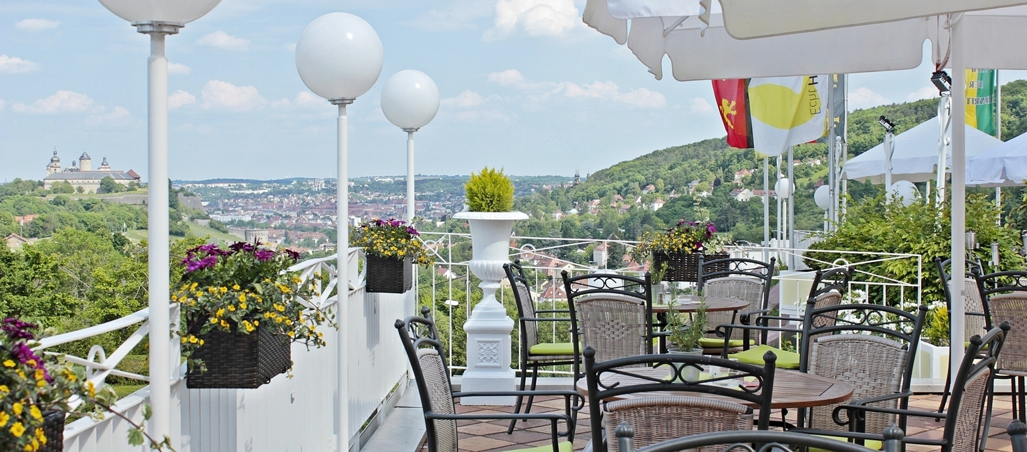Overlooking Wuerzburg from our sun terrace at the 3-star-superior hotel Ringhotel Wittelsbacher Hoeh in Wuerzburg