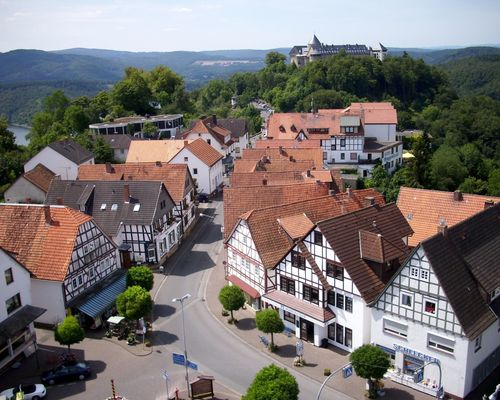 View to Waldeck and the castle near the 4-star hotel Ringhotel Roggenland in Waldeck