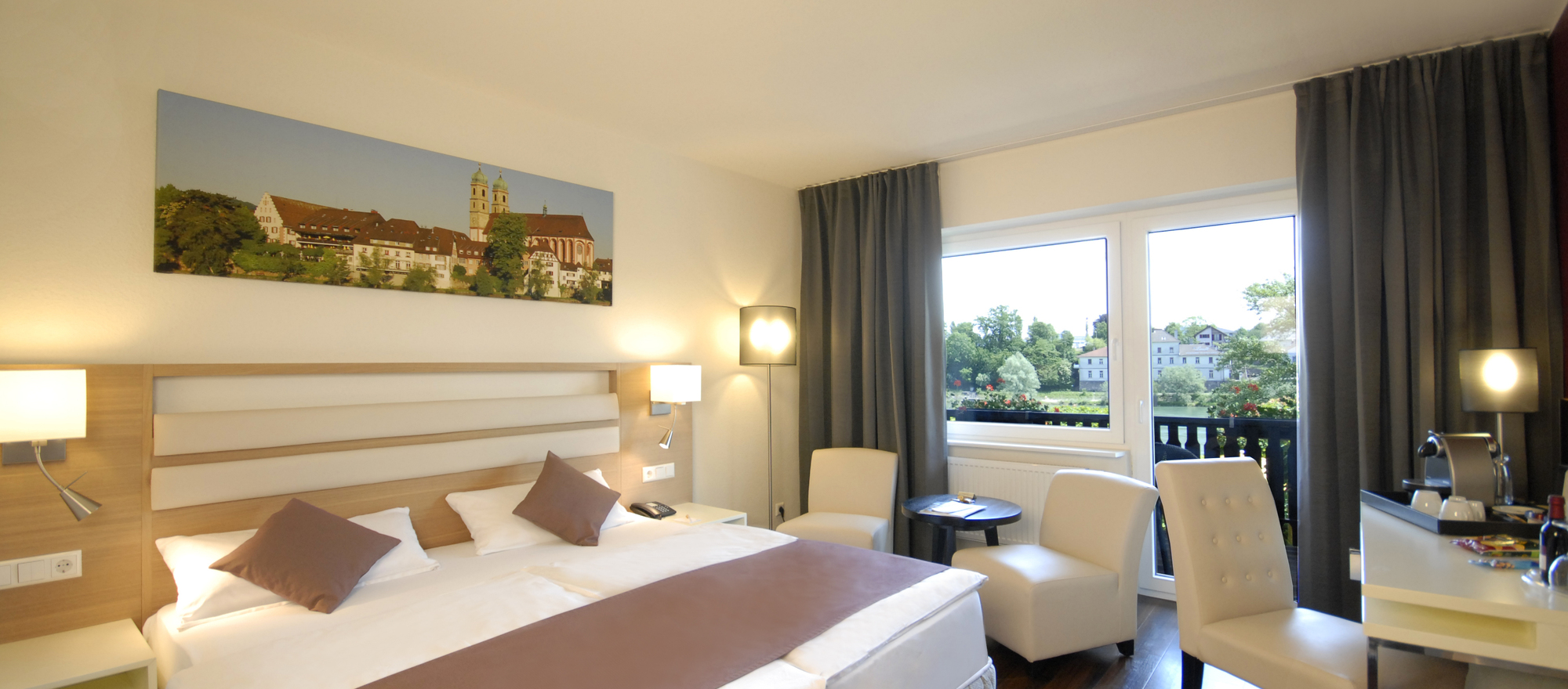 Double room with balcony in Ringhotel Goldener Knopf in Bad Saeckingen, 4 star Hotel in the Black Forest