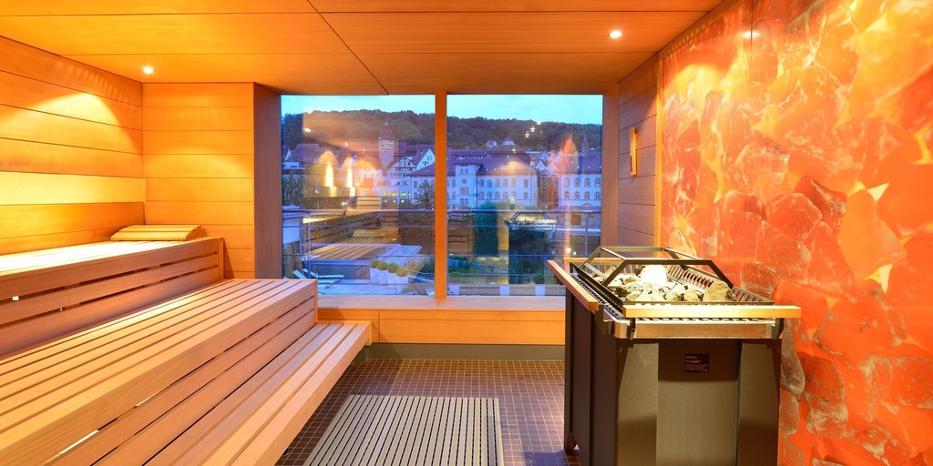 Panorama sauna with view to the historic city centre at the Ringhotel Hohenlohe in Schwaebisch Hall, 4 stars superior hotel in the Heilbronner Land region