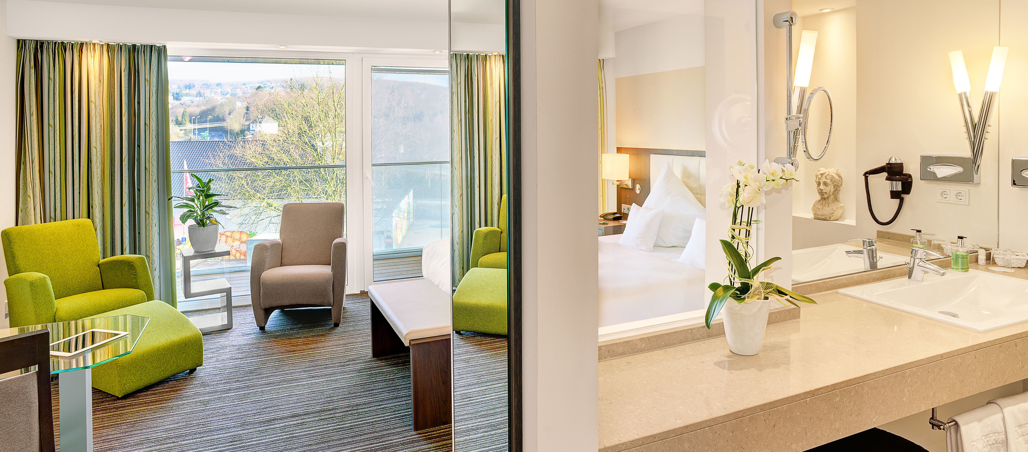 Comfortable and modern furnished douple-room superior plus in the 4-star hotel Ringhotel Zweibruecker Hof in Herdecke