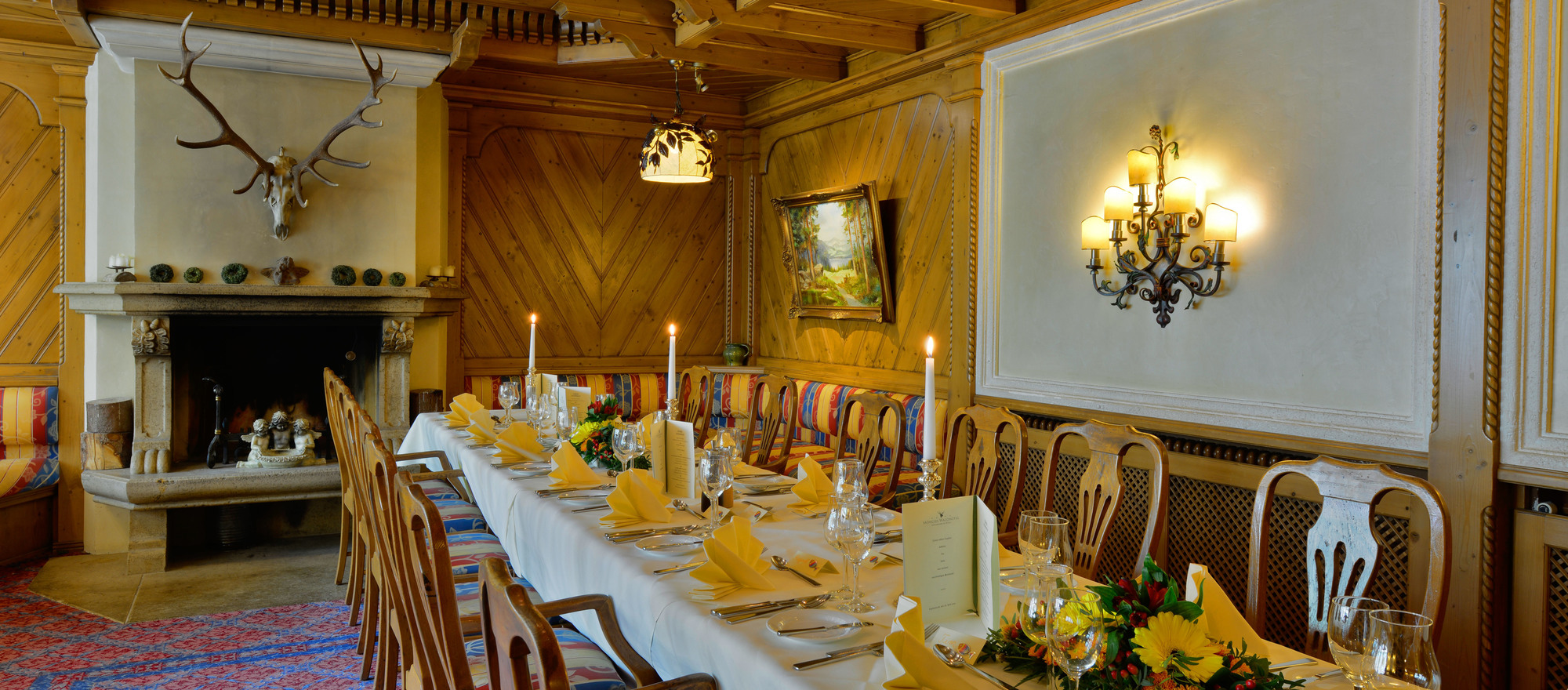 "The ""Kaminstube"" at the hotel restaurant in the Ringhotel Moenchs Waldhotel, 4-star hotel  in Unterreichenbach is ideal suitable for weddings or family parties"