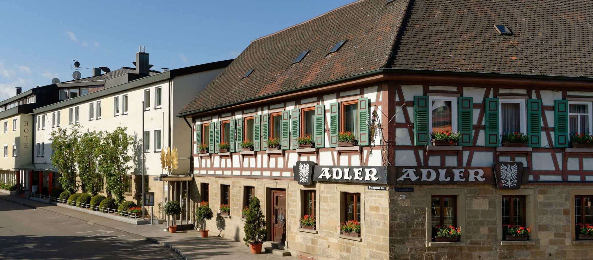 Exterior view of the Ringhotel Adler in Asperg/Ludwigsburg, 4-stars-superior hotel in the metropolitan region Stuttgart